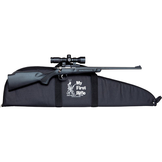 Crickett KSA2240BSC Single Shot Synthetic Package Bolt 22 Long Rifle (LR) 16.125 1 Scope Synthetic Black Stk Blued in.