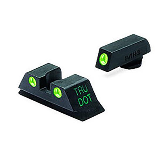 Meprolight 10224 Tru-Dot Night Sight Set Glock 17|19|22|23|31-35|37|38 Tritium Green Front|Rear Black