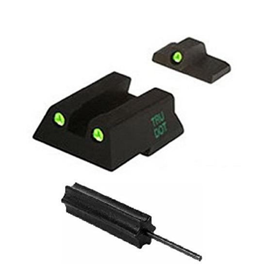 Meprolight 11545 Tru-Dot Night Sight Set HK 45C|P30|VP9 Tritium Green Front|Rear Black