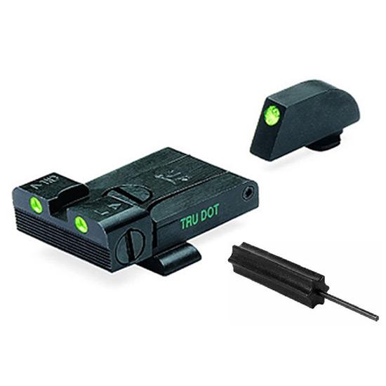 Meprolight 20224 Tru-Dot Night Sight Set Adjustable Glock 17|19|20|21|22|23 Tritium Green Front|Rear Black