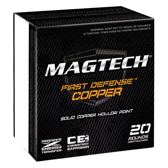 Magtech FD40A First Defense 40 Smith & Wesson (S&W) 130 GR Solid Copper Hollow Point 20 Bx| 50 Cs