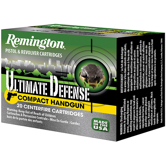 Remington Ammunition CHD40SWBN Ultimate Defense Compact Handgun 40 Smith & Wesson (S&W) 180 GR Brass Jacket Hollow Point 20 Bx| 25 Cs
