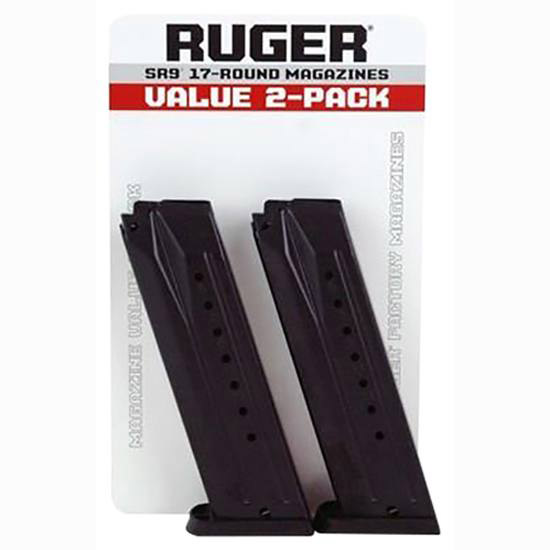 Ruger 90449 Replacement Magazine 2 Pack SR9|SR9C 9mm 17rd Black