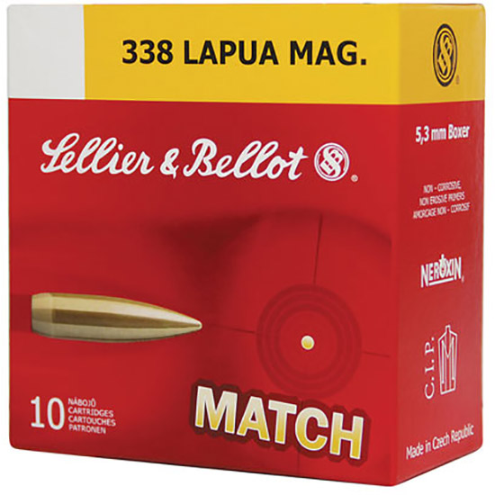 Sellier & Bellot SB338LMA Rifle Match 338 Lapua Magnum 250 GR Boat Tail Hollow Point 10 Bx| 10 Cs