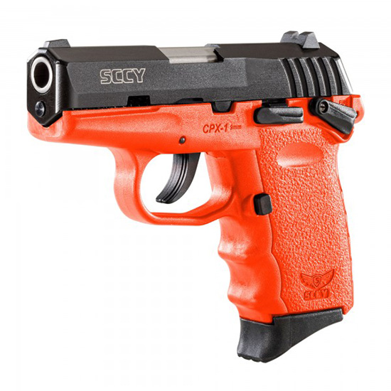 SCCY Industries CPX1CBOR CPX-1 Double 9mm 3.1 10+1 Orange Polymer Grip|Frame Grip Black Nitride Stainless Steel in.
