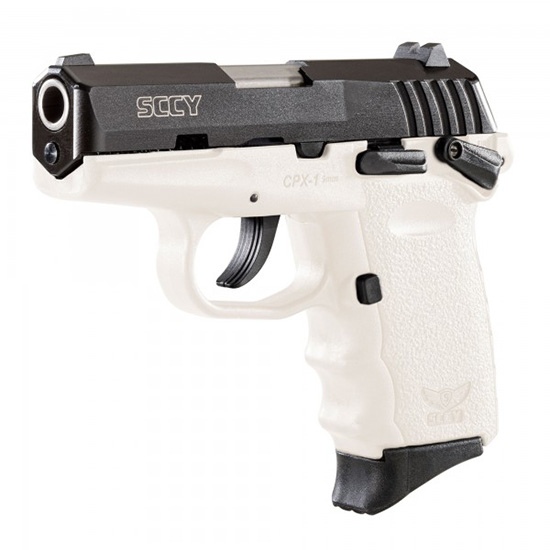 SCCY Industries CPX1CBWT CPX-1 Double 9mm 3.1 10+1 White Polymer Grip|Frame Grip Black Nitride Stainless Steel in.