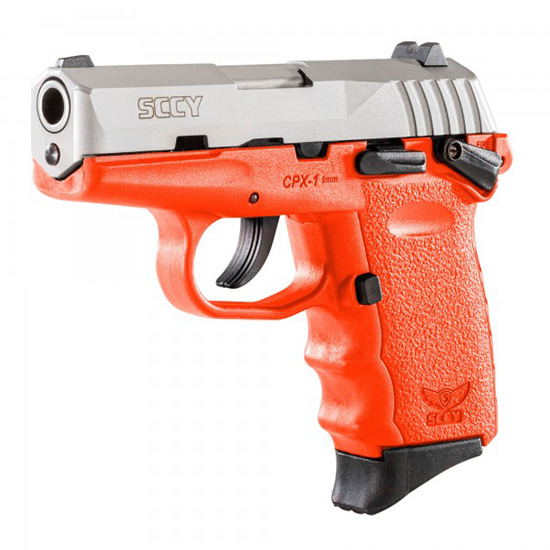 SCCY Industries CPX1TTOR CPX-1 Double 9mm 3.1 10+1 Orange Polymer Grip|Frame Grip Stainless Steel in.