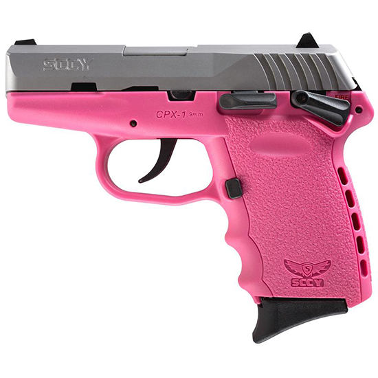 SCCY Industries CPX1TTPK CPX-1 Double 9mm 3.1 10+1 Pink Polymer Grip|Frame Grip Stainless Steel in.