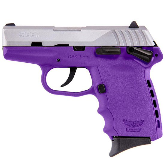 SCCY Industries CPX1TTPU CPX-1 Double 9mm 3.1 10+1 Purple Polymer Grip|Frame Grip Stainless Steel in.