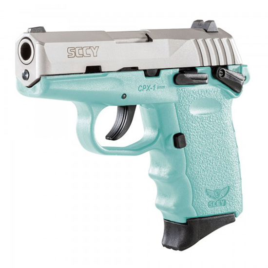 SCCY Industries CPX1TTSB CPX-1 Double 9mm 3.1 10+1 Robin Egg Blue Polymer Grip|Frame Grip Stainless Steel in.