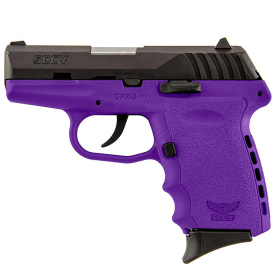 SCCY Industries CPX2CBPU CPX-2 Double 9mm 3.1 10+1 Purple Polymer Grip|Frame Grip Black Nitride Stainless Steel in.