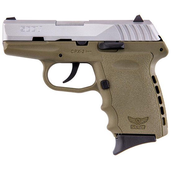 SCCY Industries CPX2TTDE CPX-2 Double 9mm 3.1 10+1 Flat Dark Earth Polymer Grip|Frame Grip Stainless Steel in.