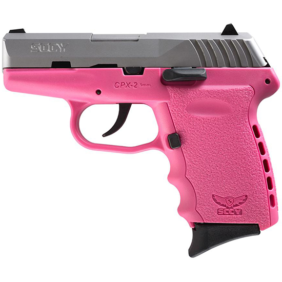 SCCY Industries CPX2TTPK CPX-2 Two Tone 9mm Luger Double 3.1 10+1 Pink Polymer Grip|Frame Stainless Steel Slide in.