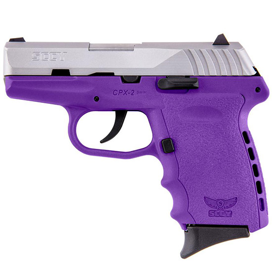 SCCY Industries CPX2TTPU CPX-2 Double 9mm 3.1 10+1 Purple Polymer Grip|Frame Grip Stainless Steel in.
