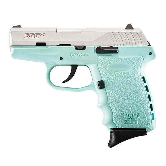 SCCY Industries CPX2TTSB CPX-2 Double 9mm 3.1 10+1 Robin Egg Blue Polymer Grip|Frame Grip Stainless Steel in.