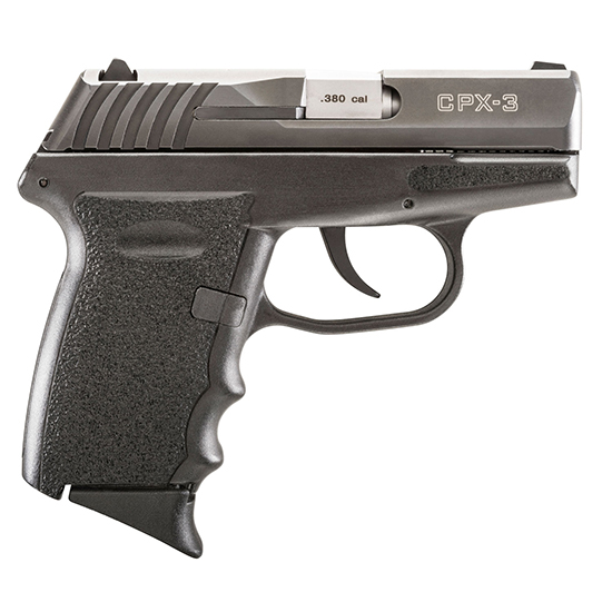 SCCY Industries CPX3CB CPX-3 Double 380 Automatic Colt Pistol (ACP) 2.96 10+1 Black Polymer Grip|Frame Grip Black Nitride Stainless Steel in.