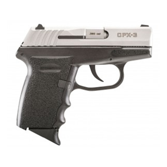 SCCY Industries CPX3TT CPX-3 Double 380 Automatic Colt Pistol (ACP) 2.96 10+1 Black Polymer Grip|Frame Grip Stainless Steel in.