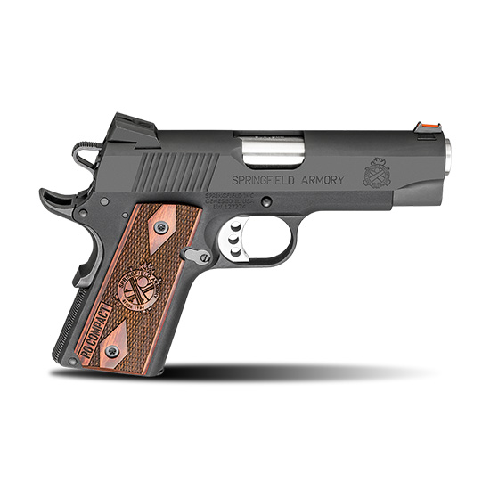Springfield Armory PI9125L 1911 Range Officer Compact 9mm Luger Single 4 8+1 Rosewood Grip Black Hardcoat Anodized Aluminum Frame Black Parkerized Slide in.