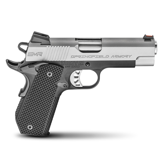 Springfield Armory PI9229L 1911 EMP Conceal Carry 9mm Luger Single 4 9+1 Black G10 Grip Black Hardcoat Anodized Aluminum Frame Stainless Steel Slide in.