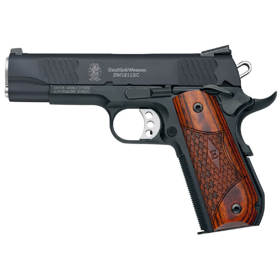 Smith & Wesson 108483 1911 E Series Scandium Frame Single 45 Automatic Colt Pistol (ACP) 4.3 8+1 Laminate Wood|Rounded Butt Grip Black in.