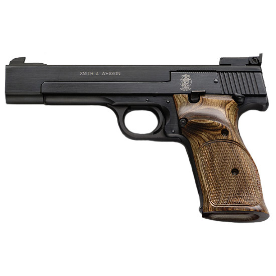 Smith & Wesson 130511 41 Rimfire 22 Long Rifle (LR) Single 5.5 10+1 Wood Grip Blued Carbon Steel in.