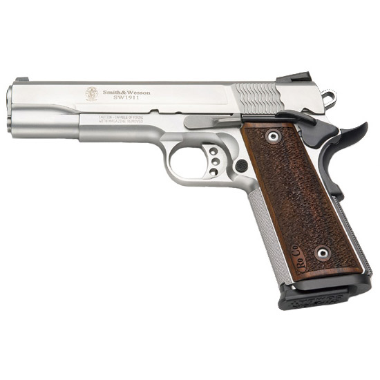 Smith & Wesson 178017 1911 Performance Center Pro Single 9mm Luger 5 10+1 Wood Grip Stainless Steel in.
