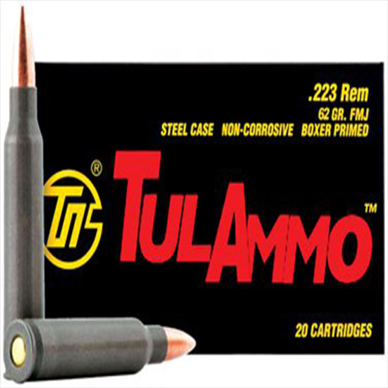 Tulammo TA223620 Centerfire Rifle 223 Remington|5.56 NATO 62 GR Full Metal Jacket 20 Bx| 50 Cs