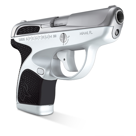 Taurus 1007039301 Spectrum 380 380 Automatic Colt Pistol (ACP) Double 2.8 6+1|7+1 White Polymer Frame Black Synthetic Grip Stainless Steel Slide in.