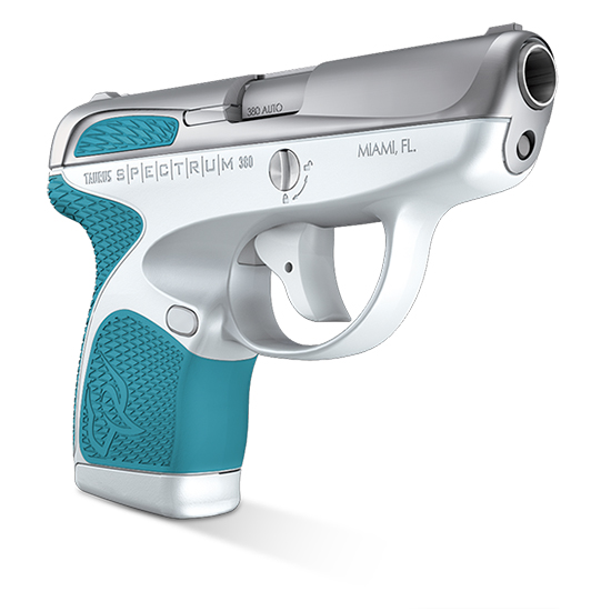 Taurus 1007039320 Spectrum 380 380 Automatic Colt Pistol (ACP) Double 2.8 6+1|7+1 White Polymer Frame Cyan Polymer Grip Stainless Steel Slide in.