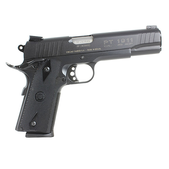 Taurus 1191101FS 1911 Standard 45 Automatic Colt Pistol (ACP) Single 5 8+1 Heinie Front Black Synthetic Grip Steel Alloy Frame Blued Slide in.