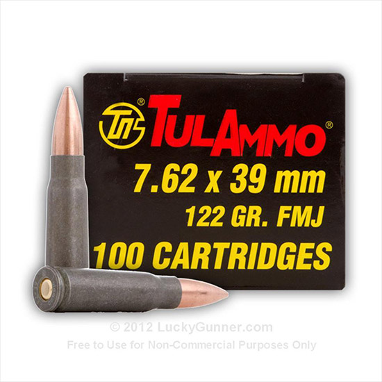Tulammo UL076212 Centerfire Rifle 7.62X39mm 122 GR HP 40 Bx| 25 Cs