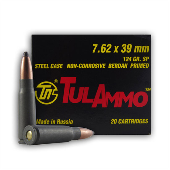Tulammo UL076213 Centerfire Rifle 7.62X39mm 124GR Soft Point 40Bx|25Cs