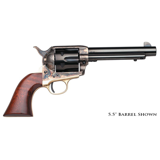 Taylors and Company 450DE 1873 Cattleman Ranch Hand Taylor Tuned Single 45 Colt (LC) 4.75 6 rd Walnut Navy Sized Grip Brass|CCH Frame Blued in.