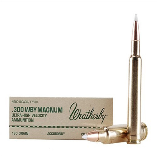 Weatherby N300180ACB 300 Weatherby Magnum Nosler AccuBond CT 180 GR 20Rds