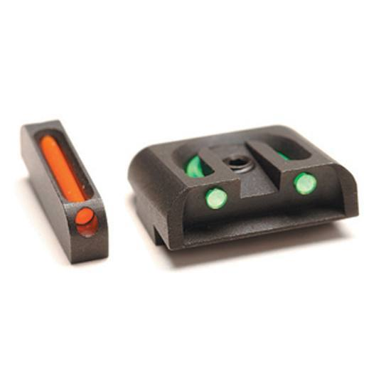 Williams 56359 FireSight Handgun Fixed All Glock Fiber Optic Green|Red Front Fiber Optic Black