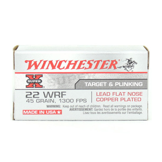 Winchester Ammo 22WRF Super-X 22 Winchester Rimfire (WRF) 45 GR Lead Flat Nose 50 Bx  50 Cs