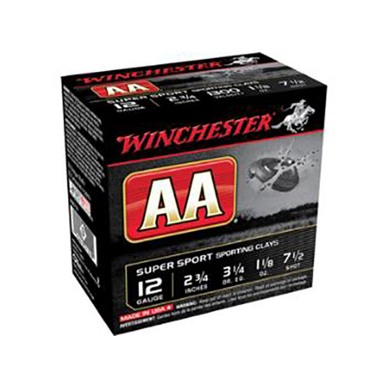 Winchester Ammo AASC127 AA Target Loads 12 Gauge 2.75 1-1|8 oz 7.5 Shot 25 Bx| 10 Cs in.