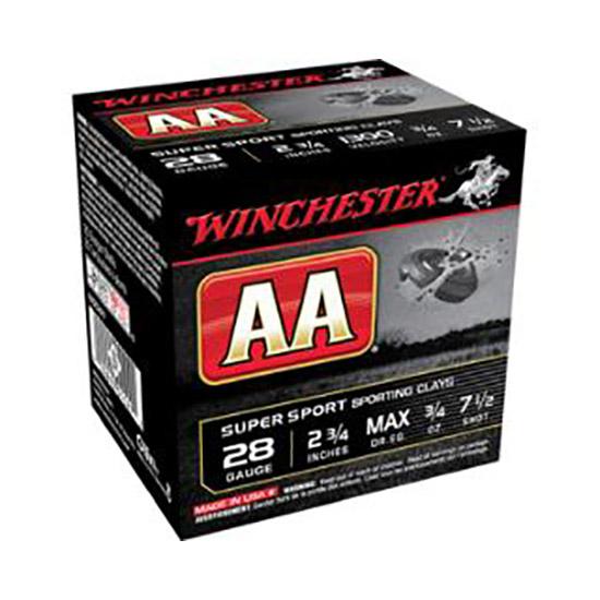 Winchester Ammo AASC287 AA Target Loads 28 Gauge 2.75 3|4 oz 7.5 Shot 25 Bx|10 Cs in.