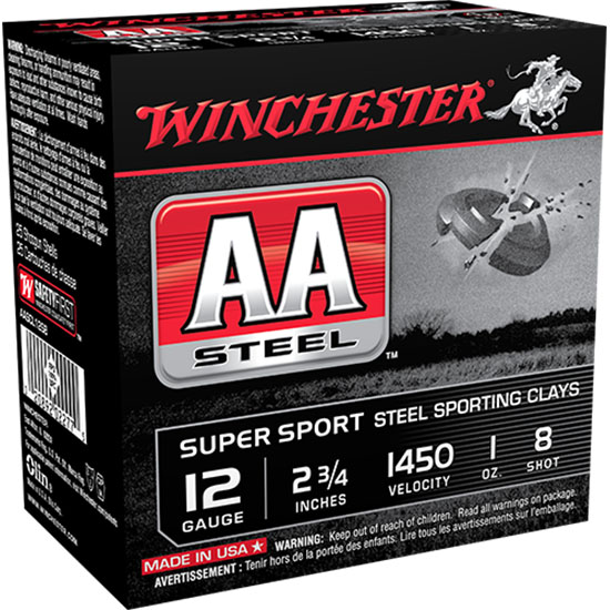 Winchester Ammo AASCL12S8 AA Steel 12 Gauge 2.75 1 oz 8 Shot 25 Bx| 10 Cs in.