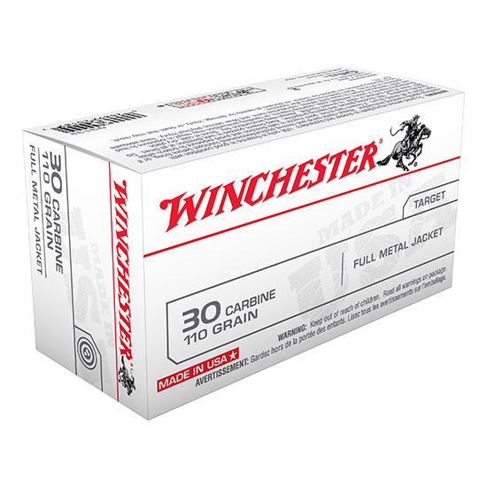 Winchester Ammo Q3132 Winchester Rifle 30 Carbine 110 GR Full Metal Jacket 50 Bx 10 Cs