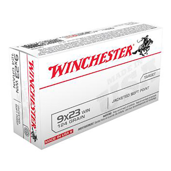 Winchester Ammo Q4304 Best Value 9x23 Winchester 124 GR Jacketed Soft Point 50 Bx| 10 Cs