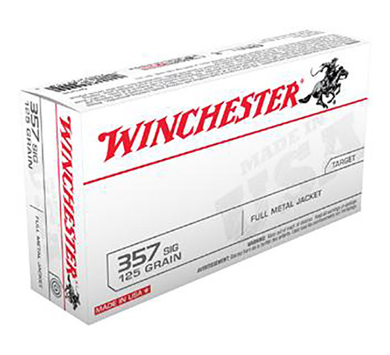 Winchester Ammo Q4309 Best Value 357 Sig Sauer 125 GR Full Metal Jacket 50 Bx| 10 Cs