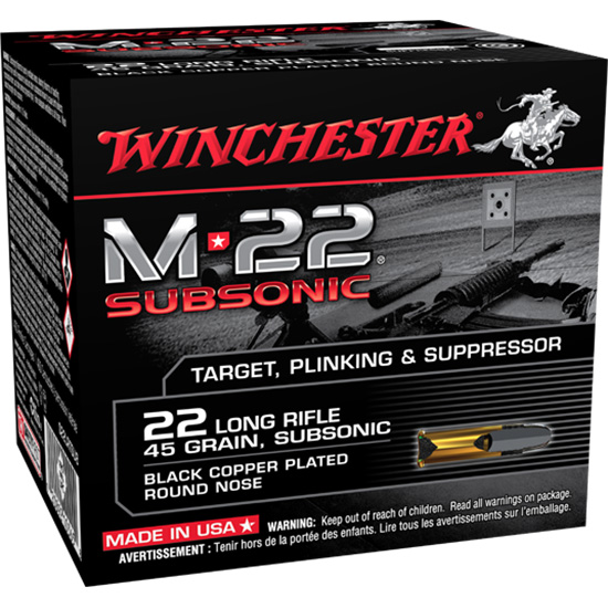 Winchester Ammo S22LRTSU8 M-22 Subsonic 22 Long Rifle 45 GR Lead Round Nose 800 Bx  2 Cs