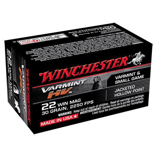 Winchester Ammo S22M2 Supreme 22 Winchester Magnum Rimfire (WMR) 30 GR Jacketed Hollow Point 50 Bx|40 Cs