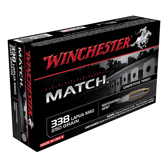 Winchester Ammo S338LM Match 338 Lapua Magnum 250 GR Boat Tail Hollow Point 20 Bx|10 Cs