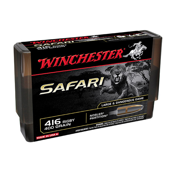 Winchester Ammo S416RSLSP Supreme 416 Rigby 400 GR Nosler Partition 20 Bx| 10 Cs