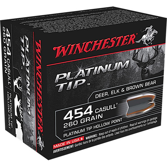 Winchester Ammo S454PTHP Supreme 454 Casull 260 GR Platinum Tip Hollow Point 20 Bx| 10 Cs