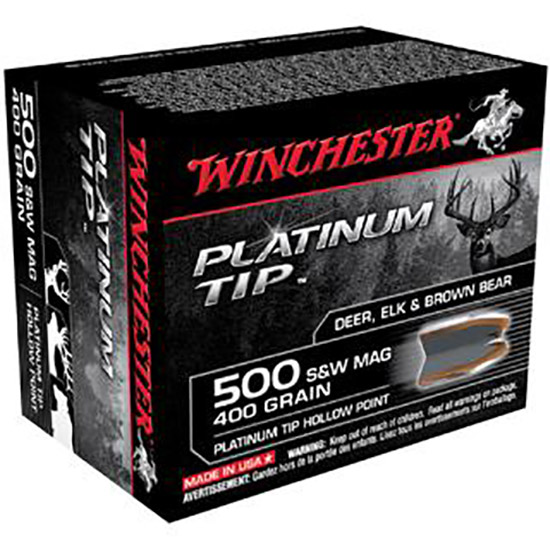 Winchester Ammo S500PTHP Supreme 500 Smith & Wesson 400 GR Platinum Tip Hollow Point 20 Bx| 10 Cs