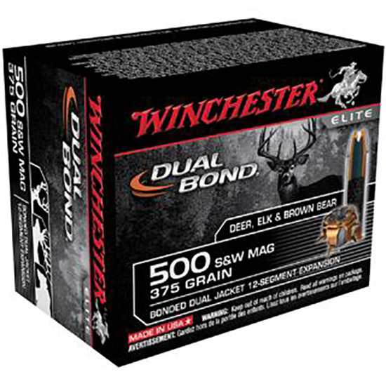 Winchester Ammo S500SWDB Elite 500 Smith & Wesson 375 GR Dual Jacket Hollow Point 20 Bx| 10 Cs