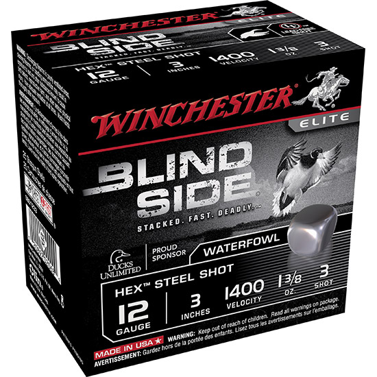 Winchester Ammo SBS1233 Blindside 12 Gauge 3 1-3|8 oz 3 Shot 25 Bx| 10 Cs in.
